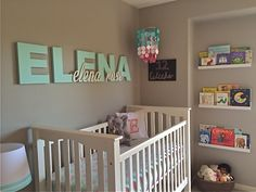 Wooden name above crib - adorable!