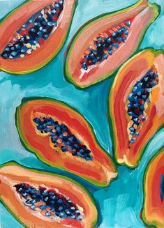 Delicious papayas painted by the great not_sorry_art - acrylic on canvas. Acrylic painting For beginners Simple Oil Painting, Simple Acrylic Paintings, Fruit Painting, Colorful Paintings, Easy Paintings, Diy Painting, Portrait Paintings, Texture Painting, Painting Videos