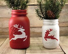 Red and White Reindeer Mason Jars - Christmas Mason Jar Set - Rustic Christmas Decor - Christmas Wedding - Christmas Baby Shower Christmas Mason Jars, Rustic Christmas, Christmas Crafts, Christmas Decorations, Christmas Wedding, Holiday Decorating, Xmas, Rustic Mason Jars, Painted Mason Jars