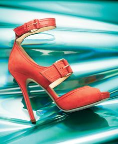 "JIMMY CHOO Coral nubuck and calf ""Leona"" platform sandal with buckle straps I Love My Shoes, Me Too Shoes, Jimmy Choo, Prada, Christian Louboutin, Mode Shoes, Shoe Boots, Shoe Bag, Gucci"