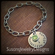 Medical Alert Link Charm Bracelet  by SusansJewelryDesigns on Etsy
