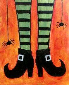Paint Nite Philadelphia | Headhouse Crab and Oyster Bar October 31 Witch Painting, Autumn Painting, Fall Canvas Painting, Halloween Crafts, Halloween Rocks, Halloween Drawings, Halloween Kids, Halloween Stuff, Fall Crafts