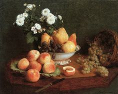 Painting of the Day  Henri Fantin-Latour (Henri Fantin Latour) (1836-1904) Flowers & Fruit on a Table Oil on canvas 1865 To see more works by this artist please visit us at: http://www.artrenewal.org/pages/artwork.php?artworkid=13584&size=large  Share your favorite old master works with us: http://www.pinterest.com/ArtRenewal/share-your-favorite-old-master-works/
