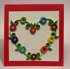 Flower heart handmade quilling card by Romanufacture on Etsy, $7.00