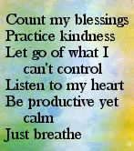 Count my blessings, practice kindness, let go of what I can't control, listen to my heart, be productive yet calm. Just breathe.