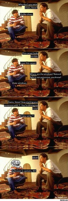 Conversation between Bill Gates and Steve Jobs