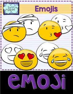 Emoji Smiley Faces Emoticons Clipart Bundle includes 24 colored and 24 line art images to represent some of the Whatsapp messenger emojis. Includes: - Injuried - Heart eyes - Kiss - LOL