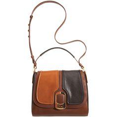 Fendi  Anna Piccolo Shoulder Bag  Smooth leather color block shoulder bag in black/brown /caramel
