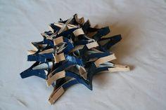 Papír csillag (sötét kék sárga)