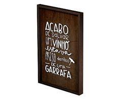 Quadro Porta-Rolhas Salvar Um Vinho - 43X64cm