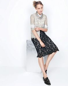 DEC '15 Style Guide: J.Crew women's edged-lace blouse, contrast lace skirt and Biella tassel loafers.