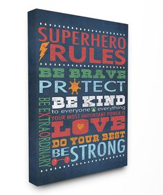 Red & Blue Superhero Rules Gallery-Wrapped Canvas