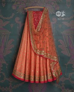 SMF LEH 311 17 I Carrot sequin lehenga with matching threadwork dupatta and red threadwork blouse (SOLD) Designer Bridal Lehenga, Indian Bridal Lehenga, Indian Gowns, Indian Attire, Indian Wear, Muslim Wedding Dresses, Indian Wedding Outfits, Indian Outfits, Indian Clothes