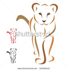 Female lion standing facing - vector by yod67, via Shutterstock