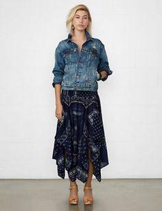 Ralph Lauren Denim & Supply Midi Smocked Handkerchief Skirt