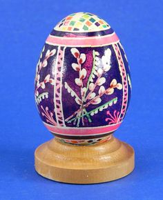 Polish Pysanky Egg Hand Painted Decorated Vintage Easter Blown Out Chicken Egg 20482 by JacksonsMarket on Etsy