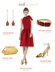 red and gold outfit with accessories