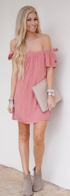 Pink Off Shoulder Dress  Beige Leather Clutch  Grey Suede Booties One Clothing Off the Shoulder Shift Dress Nordstrom Trending Summer Spring Fashion Outfit to Try This 2017 Great for Wedding,casual,Flowy,Black,Maxi,Idea,Party,Cocktail,Hippe,Fashion,Elegant,Chic,Bohemian,Hippie,Gypsy,Floral