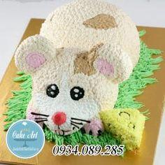 Bánh kem dựng 3D chú chuột ăn pho mát