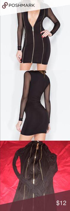 Zip front minidress Sz Small GoJane Zip tease mini dress has a zipper front with sheer sleeves. Sz Small. Never Worn  92% polyester 8% spandex Gojane Dresses Mini