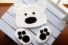Crochet Newborn baby bear hat booties set by Stephyscrochet, $25.00