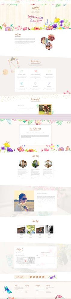 Pastel Floral is a warm floral design featuring wood and paper textures, decorated with flowers and plants. There is also a hint of retro theme with hexagons and coppter tones.