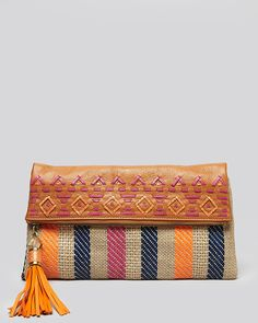 """Rafe New York Clutch - """"ANH"""" Woven leather and striped straw Foldover clutch @Bloomingdale's"""