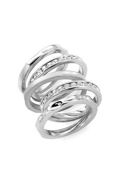 Ariella Collection Set of Five Stacking Rings $38.00 #rings