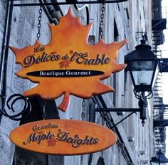 Fantastic typography of this Canadian Maple Delights shop sign Restaurant Signs, Pub Signs, Wood Signs, Province Du Canada, Storefront Signs, Charlevoix, Canadian Maple, Of Montreal, Store Signs