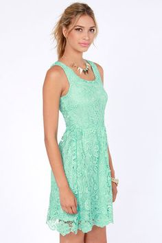 Mint Lace Dress - vintage inspired bridesmaids dresses
