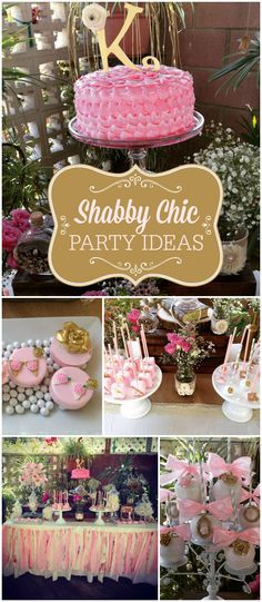Here's a gorgeous, vintage, shabby chic party with a pretty pink cake! See more party ideas at CatchMyParty.com!