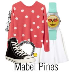 Mabel Pines from Gravity Falls by disneyhobbitgirl1012 on Polyvore featuring polyvore, fashion, style, Equipment, Topshop and Converse