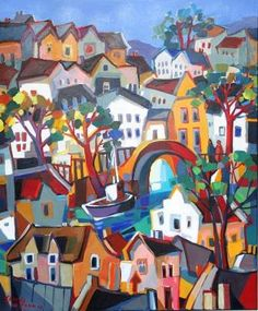 Boat in the city Oil Painting South African Artists, Illustration Art, Illustrations, Z Arts, Travel Abroad, Peru, Primitive, Whimsical, Feels