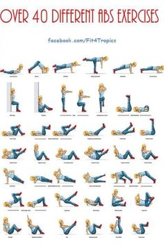 I need to print this out and hang it on my wall!! - 40 different ab excercises
