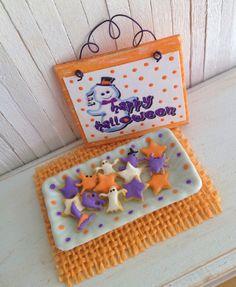 Miniature Halloween Cookies In Orange Purple by LittleThingsByAnna