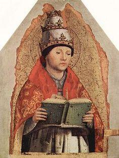 Antonello da Messina - Papa Gregorio I, poi San Gregorio Magno. Eletto nel 590 ; morto nel 604. Suo il contributo più importante nell'Alto Medioevo al rafforzamento della figura del pontefice. Fu il primo papa ad esercitare il potere temporale sul Patrimonio di Pietro. Promosse l'evangelizzazione missionaria della Britannia. Il canto gregoriano prese da lui il nome.
