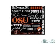 Oklahoma State University Subway Art Print by GlitterPrints, $7.00