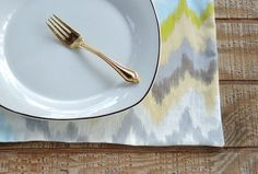Modern Bargello Print Lined Placemats Set by FrenchRosebudCottage
