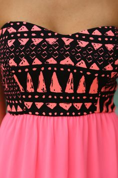 Neon Pink Maxi Dress With Printed Top | Printed Dress – Saved by the Dress