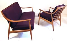 1950s two seater sofa & armchair by Peter Hvidt for France & Daverkosen