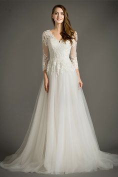 A-linie V-Ausschnitt Hof-Schleppe weißes Brautkleid mit langen Ärmeln aus Spitze