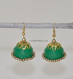 Sale 25% DISCOUNT Traditional Indian Style Paper Quilling Earrings Green Jhumkas Indian Chandeliers Jumka Bollywood Jewelry by LaxmiFashions