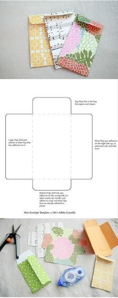 Free printable mini envelope template by Manuela Arias G.