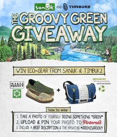 THE GROOVY GREEN GIVEAWAY - Celebrate Earth Day & protect the planet for a chance to WIN ECO-GEAR from Sanuk & @Timbuk2 Bags - including fresh pairs of sustainable sandals and messenger bags made from recycled plastic bottles. *IMPORTANT: include the hashtag #GREENISGROOVY with your photo, so we can find it! Contest ends Monday, April 23rd @ 5pm PST. One entry per person. Winners will be selected by a panel of in-house eco-experts & announced next week. Questions? Email…