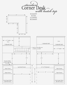 plan for corner desk with hutch