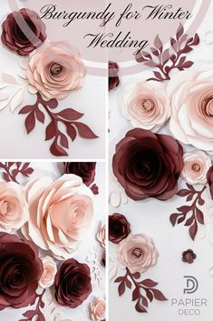 This paper flowers backdrop is perfect decoration for burgundy and blush wedding ceremony. Also these would make charming addition for special events of your. The price is 179 $. Place an order on Etsy and get 12 your supreme roses in 20-25 days. Premium quality is garanteed. #weddingflowers #burgundywedding #paperart #papierdeco
