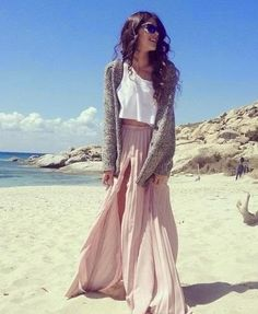 White blouse with long warm sweater with light pink oversized maxi dress