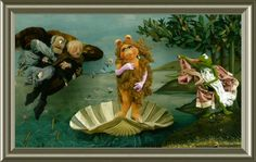 The Muppets take  on Botticelli! Miss Piggy makes a great Venus <3