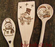 Egyedi Karácsonyi Kézműves Fakanál Ajándék