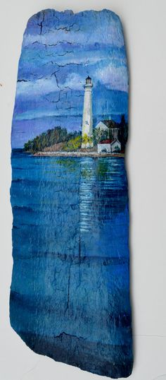 A piece of driftwood found on Lake Huron Beach in Michigan with an original painting of a Lighthouse. it measures 5 wide and by 15 inches and Pallet Painting, Pallet Art, Tole Painting, Painting On Wood, Painting & Drawing, Painted Driftwood, Driftwood Art, Lighthouse Painting, Driftwood Projects